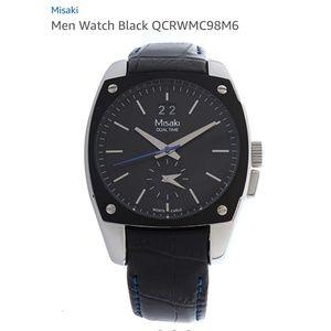 Misaki men's black leather watch